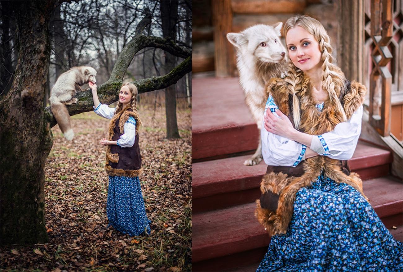 русская красавица с белой лисичкой