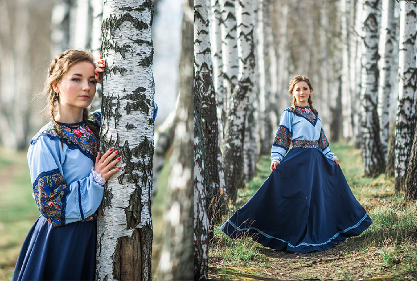 Девушка в русском народном платье в березках фотосессия
