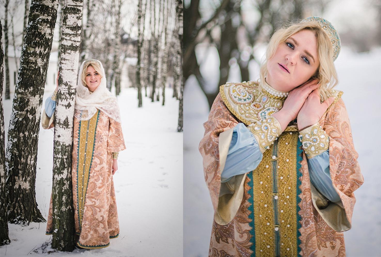 Фотосессия в костюме царевны зима березы