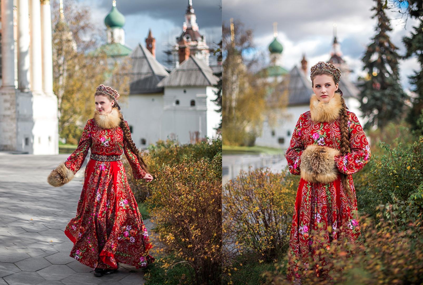 Девушка в русском народном платье фотосессия