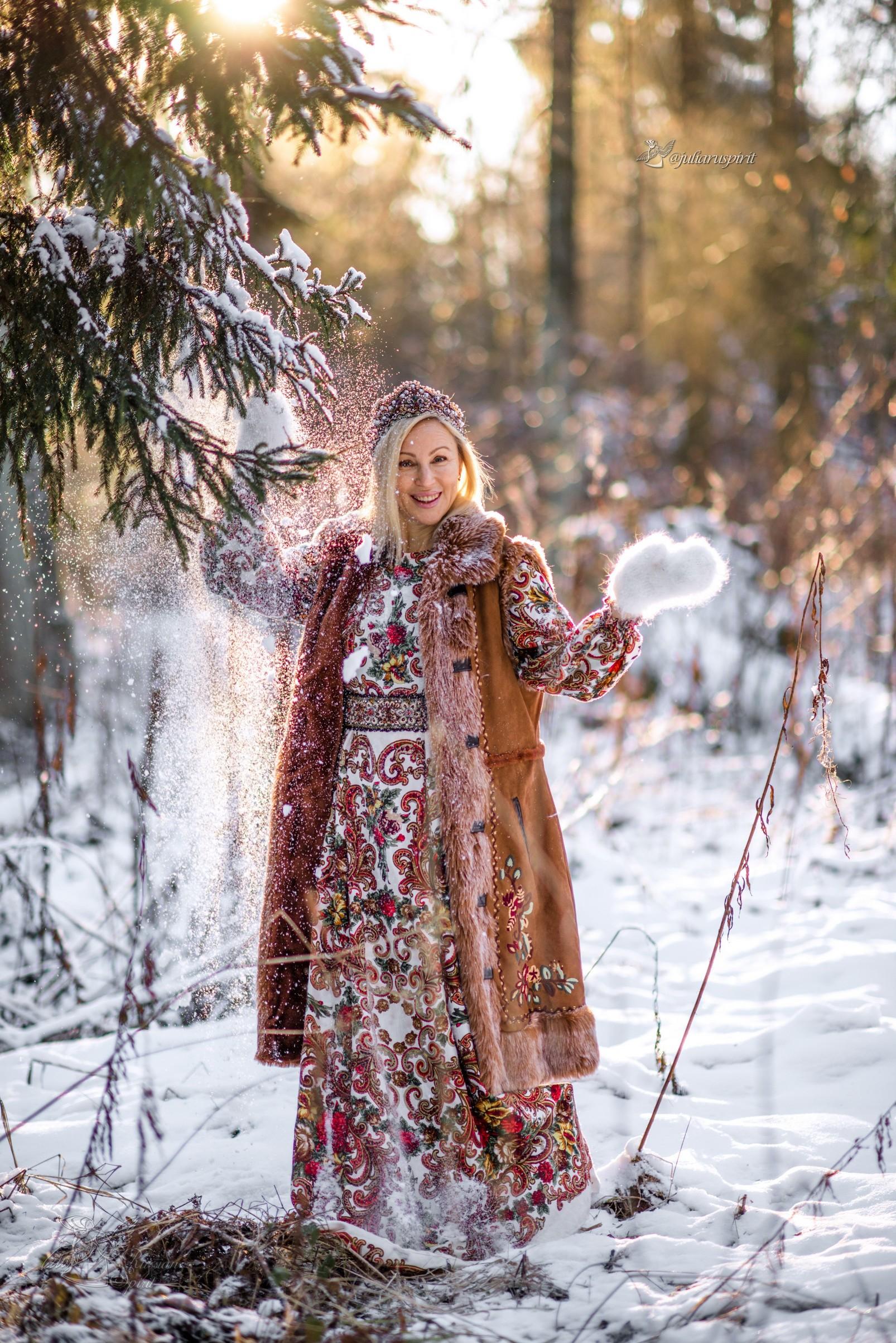 Фотосесия в русском стиле зимой