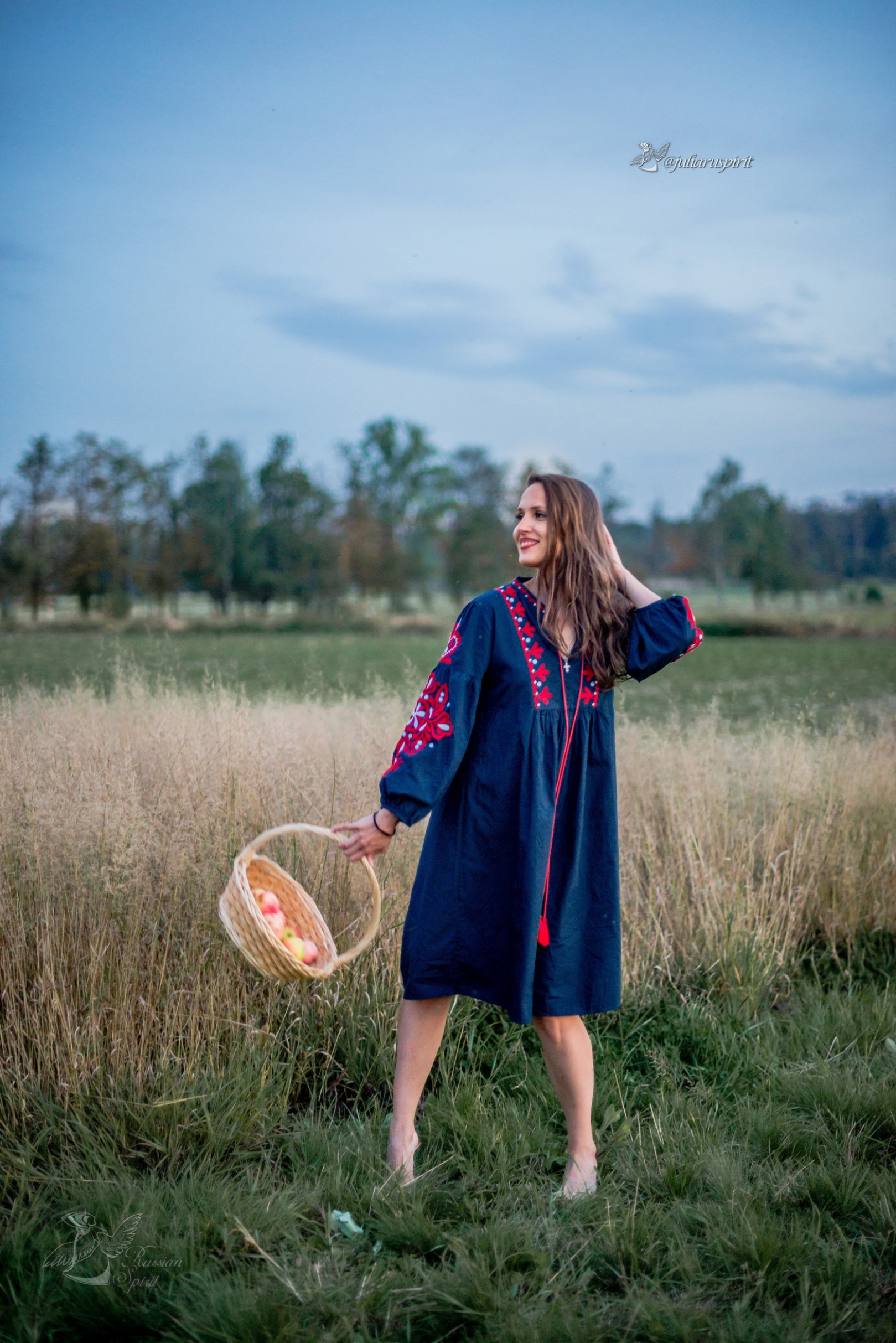 девушка с корзиной яблок в поле в национальном синем платье