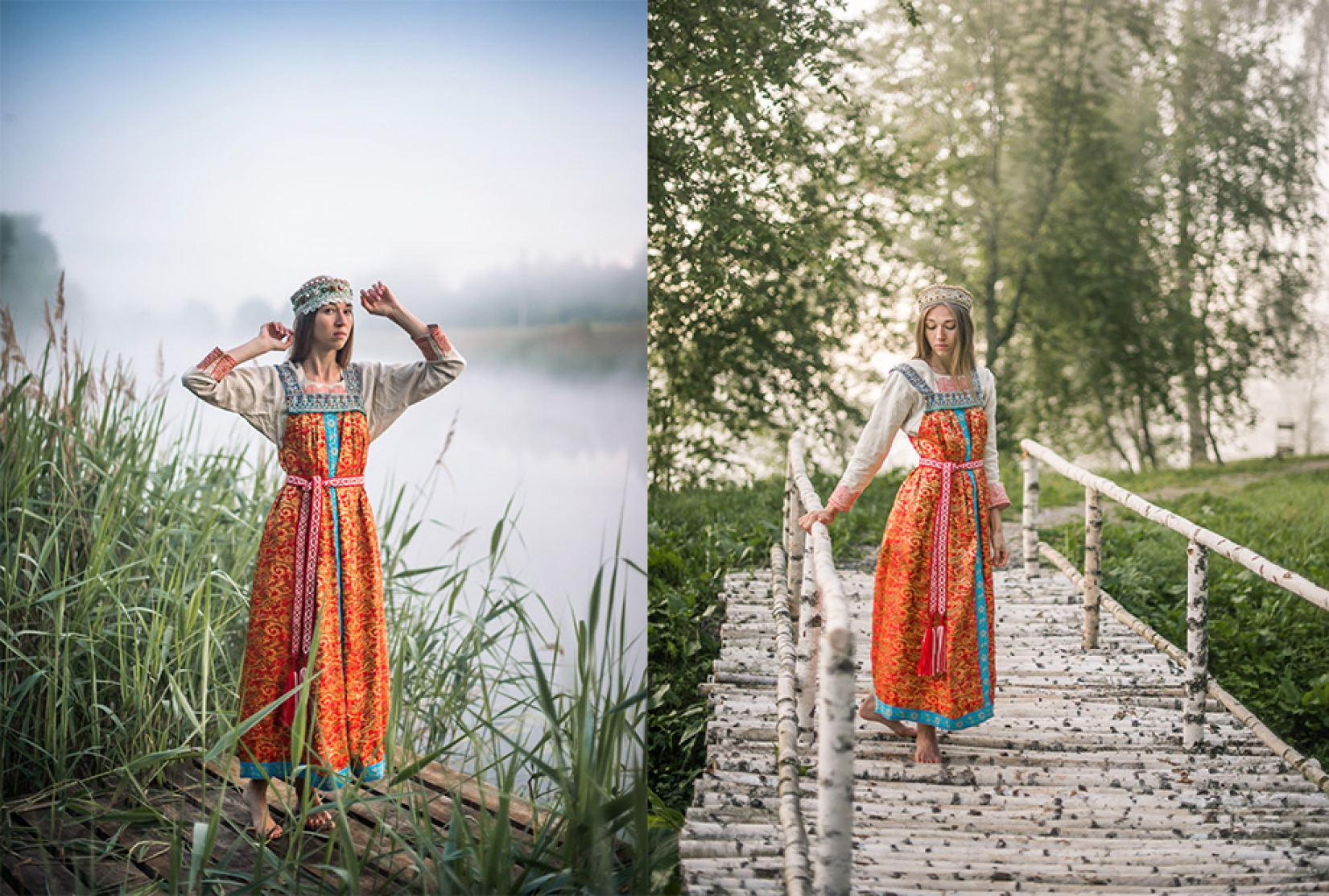 Девушка в русском народном платье у озера на мостике