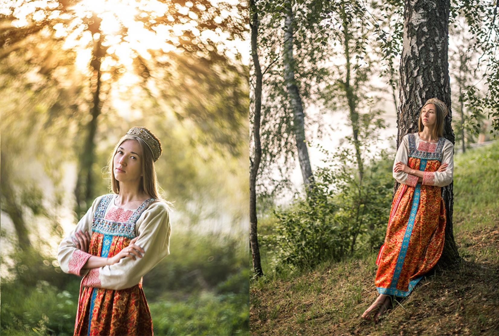 Девушка в русском народном платье в лесу на заре фотосессия