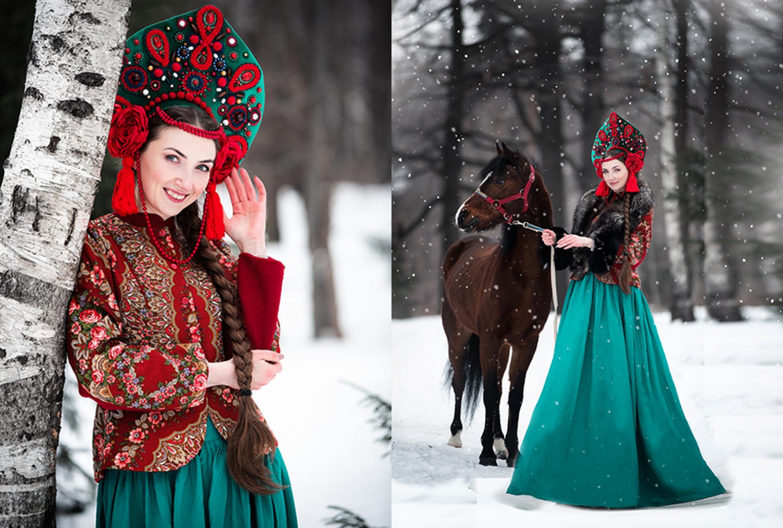 Девушка в костюме боярыни в с лошадью