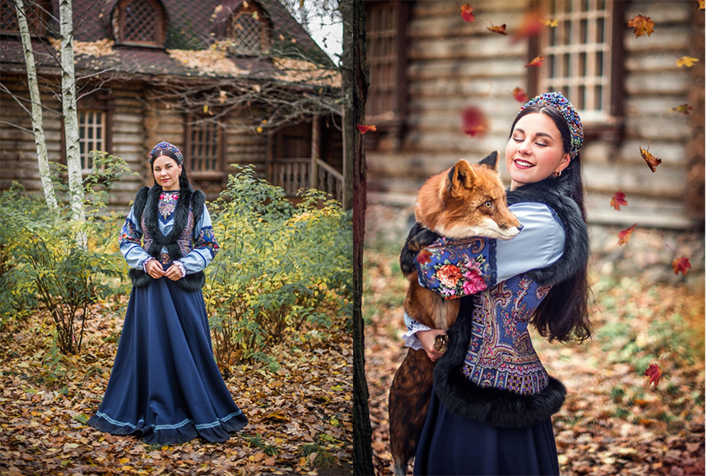 Девушка в русском народном платье фотосессия у терема