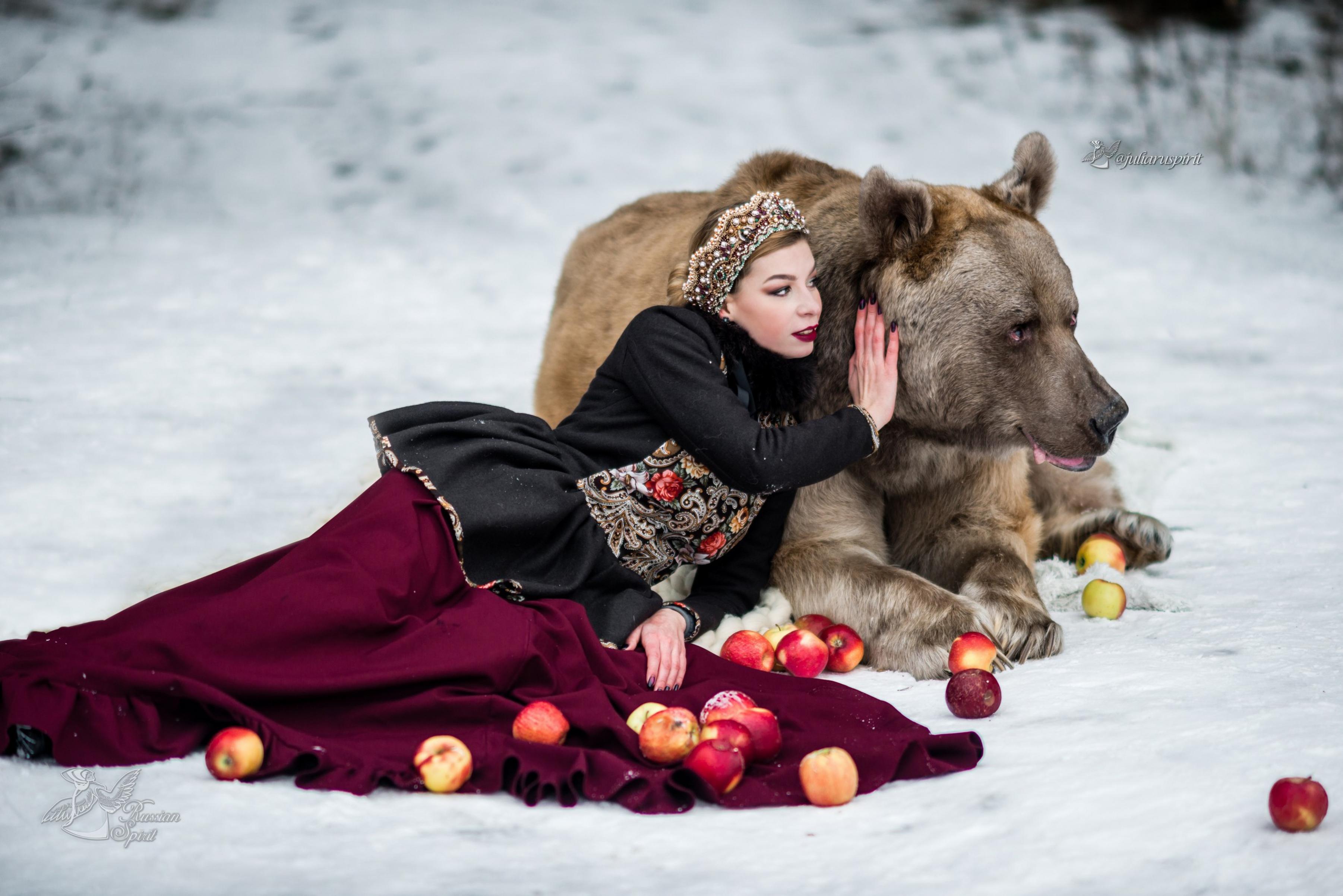 Девушка и медведь фотосессия