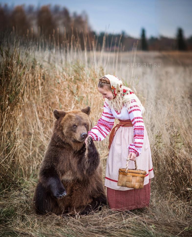 медведь целует руку девушки